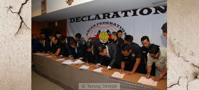 The signing of the Declaration of AFTD by eight national federations Tarung Derajat southeast Asian countries, namely: Indonesia, Laos, Vietnam, Myanmar, Singapore, Malaysia, Thailand, and  Philippines